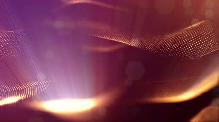 derinlik : gold сurved lines, microcosm or space. Seamless footage with beautiful light effects. 3d loop abstract animation of glow particles with depth of field, bokeh and light rays as vj loop. 1 Stok Video