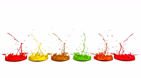 colidir : colorful background with liquid. Simulation of splashes of paint on a musical speaker that play music. 3d splashes of liquid. Paint bounce in 4k on white background. multicolor version 1