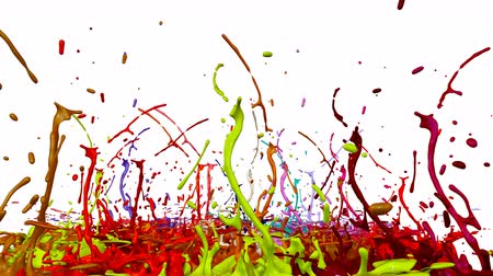 naživu : colorful background with liquid. Simulation of splashes of paint on a musical speaker that play music. 3d splashes of liquid. Paint bounce in 4k on white background. multicolor version 9 Dostupné videozáznamy