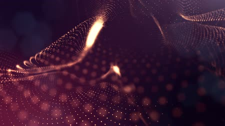 abstrakce : Abstract dark background as a loopable sequence with glow particles and depth of field. 3d render of massive of particles with glow that form surfaces in looped motion. 4