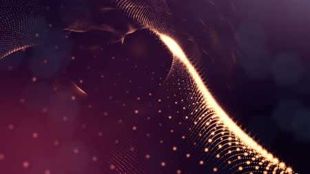 jiskry : Abstract dark background as a loopable sequence with glow particles and depth of field. 3d render of massive of particles with glow that form surfaces in looped motion. 8