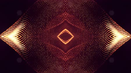 yumuşaklık : 4k seamless animation with particles and depth of field, bokeh and light effects. Glow particles form curves, surfaces, grid. Mysterious 3d virtual space with particles. Red gold cyclic structures v24