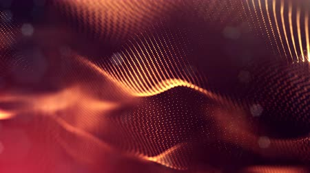 luminosidade : 4k seamless animation with particles and depth of field, bokeh and light effects. Glow particles form curves, surfaces, grid. Mysterious 3d virtual space with particles. Red gold cyclic structures v39