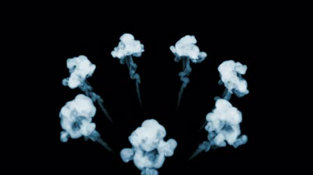 pyrotechnical : 3d animation of beautiful smoke on a black background for visual effects with smoke. V1 circular structure Stock Footage