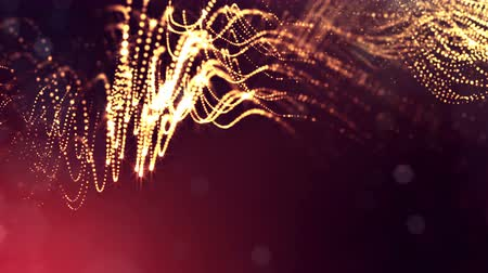 dot matrix : 3d golden red background with fantastic luminous particles. Looped 3d animation with depth of field, light effects. Modern digital background. Curved lines 6 Stock Footage