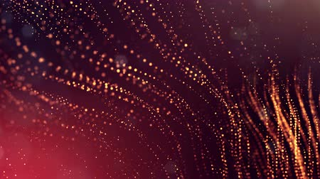 dot matrix : 3d golden red background with fantastic luminous particles. Looped 3d animation with depth of field, light effects. Modern digital background. Curved lines 11