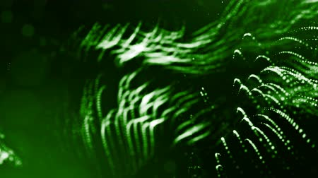 pontilhado : 3d green background with fantastic luminous particles. Looped 3d animation with depth of field, light effects. Modern digital background. Curved lines 5
