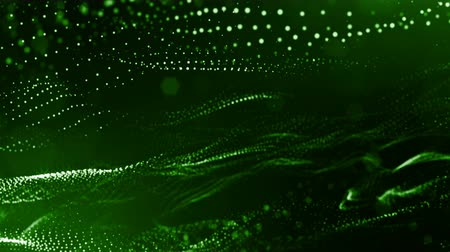 pontilhado : 3d green background with fantastic luminous particles. Looped 3d animation with depth of field, light effects. Modern digital background. point field 7
