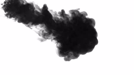шлейф : 3d render of black ink dissolve in water, simulation of ink injection, vfx effects with luma matte. Black on white 11