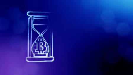 címer : Sign of bitcoin in hourglass. Financial background made of glow particles as vitrtual hologram. Shiny 3D loop animation with depth of field, bokeh and copy space. Blue v5 Stock mozgókép