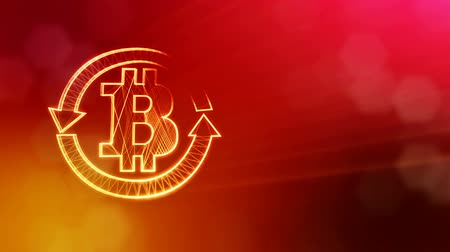 morph : logo bitcoin inside the circular arrows. Financial background made of glow particles as vitrtual hologram. Shiny 3D loop animation with depth of field, bokeh and copy space. Red v5