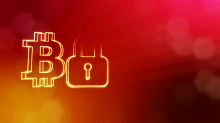 logo elements : Bitcoin logo and emblem of lock. Financial background made of glow particles as vitrtual hologram. Shiny 3D seamless animation with depth of field, bokeh and copy space. Red v5 Stock Footage