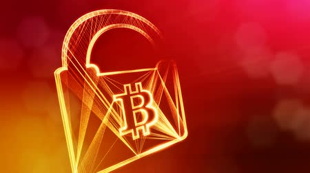 morph : Bitcoin logo inside the lock. Financial background made of glow particles as vitrtual hologram. Shiny 3D loop animation with depth of field, bokeh and copy space. Red v5 Stock Footage