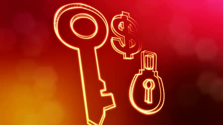 distorção : dollar sign and emblem of lock and key. Finance background of luminous particles. 3D seamless animation with depth of field, bokeh and copy space for your text. Red v3