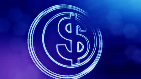 particle system : dollar sign in circles. Finance background of luminous particles. 3D loop animation with depth of field, bokeh and copy space for your text. Blue v3 Stock Footage