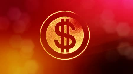 capitalism : dollar sign in rings. Finance background of luminous particles. 3D loop animation with depth of field, bokeh and copy space for your text. Red v3 Stock Footage