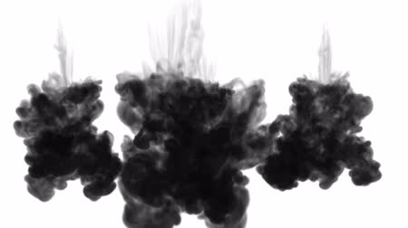шлейф : 3d render of inky injections into water with luma matte. Black ink on white background 11