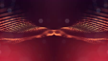 nanotechnology : 4k abstract background of glowing golden red particles with shining bokeh sparkles. Dark composition with oscillating luminous particles. Science fiction. Smooth animation looped. 3