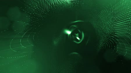 nucleic : Dark composition with oscillating luminous green particles that form wavy surface. Smooth animation looped. Abstract background of glowing particles with shining bokeh sparkles. science fiction 10