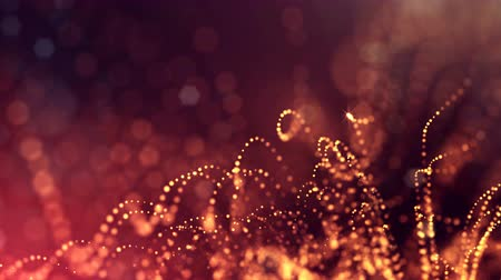 húr : dynamic abstract background of glowing particles with shining bokeh sparkles. Dark golden red composition with oscillating luminous particles. Science fiction. Smooth animation looped. 1 Stock mozgókép