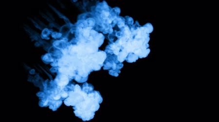 шлейф : blue Ink trickle dissolves in water in slow motion isolated on black background. included luma matte for use as transitions or the spectacular presentation of something. 3d