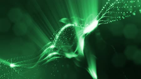 проекция : abstract green looped background of glowing particles like Chrisrmas garland. Dark composition with oscillating luminous particles that form surface. Smooth animation looped.