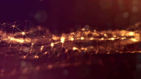 nanotechnology : 3d abstract looped background with glow particles like Christmas or New Year garland or sparks that form wiggle structures with depth of field, bokeh, light effects. Seamless footage. Golden 5
