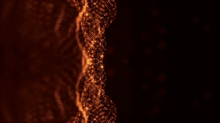 foltos : 3d abstract looped background with glow particles like Christmas or New Year garland or sparks that form wiggle structures with depth of field, bokeh, light effects. Seamless footage. Golden 51