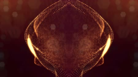 foltos : 3d abstract looped background with glow particles like Christmas or New Year garland or sparks that form wiggle structures with depth of field, bokeh, light effects. Seamless footage. Golden 56 Stock mozgókép