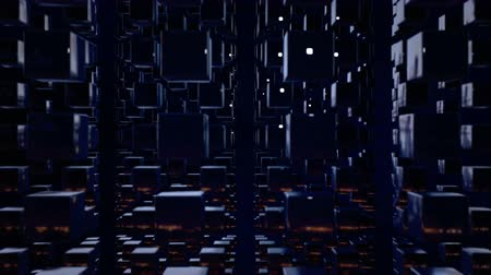 stilize : motion graphics 3d looped animation as dark background in 4k with simple cubes and depth of field. Dark composition with cubes with many highlights. wiggle animation of dark cubes 2 Stok Video
