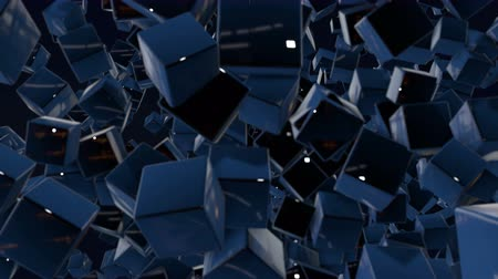 minimalista : Dark composition with cubes with many highlights and moving focus. Motion graphics 3d looped animation as dark background in 4k with simple cubes and depth of field. 1