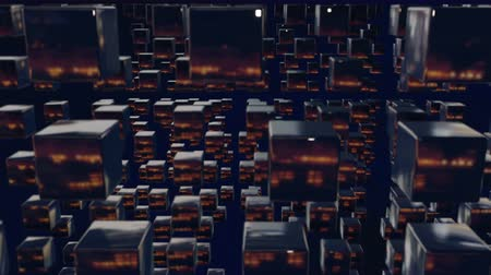 stylised : motion graphics 3d looped animation as dark background in 4k with simple cubes and with a shifting focus then back and forth, depth of field, bokeh effects. Dark wiggle composition with cubes 5