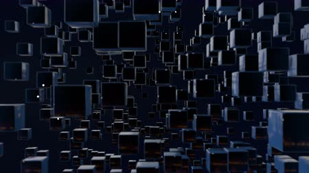 stilize : motion graphics 3d looped animation as dark background in 4k with simple cubes and with a shifting focus then back and forth, depth of field, bokeh effects. Dark wiggle composition with cubes 8