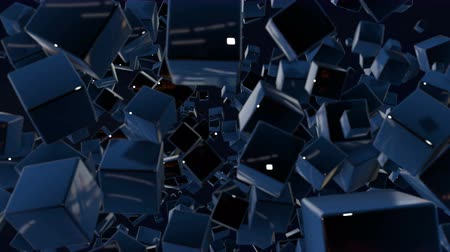 estilizado : motion graphics 3d looped animation as dark background in 4k with simple cubes and with a shifting focus then back and forth, depth of field, bokeh effects. Dark composition with wiggle blue cubes 3