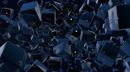 stylised : motion graphics 3d looped animation as dark background in 4k with simple cubes and with a shifting focus then back and forth, depth of field, bokeh effects. Dark composition with wiggle blue cubes 5