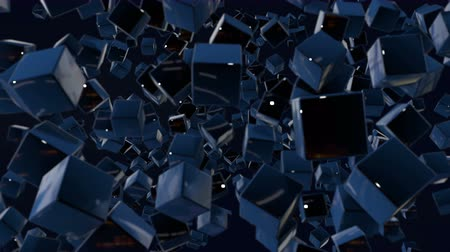 stilize : motion graphics 3d looped animation as dark background in 4k with simple cubes and with a shifting focus then back and forth, depth of field, bokeh effects. Dark composition with wiggle blue cubes 6 Stok Video