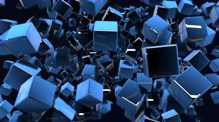 stilize : motion graphics 3d looped animation as dark background in 4k with simple cubes and with a shifting focus then back and forth, depth of field, bokeh effects. Dark composition with wiggle blue cubes 7 Stok Video