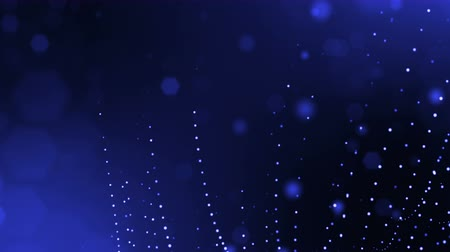 nucleic : abstract looped dynamic composition of luminous particles like garland fly in air. Abstract particle background with depth of field. Blue 6 Stock Footage