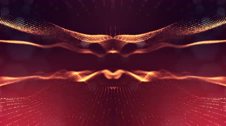 wellenform : 4k interesting abstract looped backgrounds with luminous particles with depth of field. suitable for holiday presentations, as a bright interesting background with light effects. Golden red lines 1