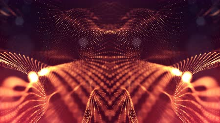 wellenform : 4k interesting abstract looped backgrounds with luminous particles with depth of field. suitable for holiday presentations, as a bright interesting background with light effects. Golden red lines 3