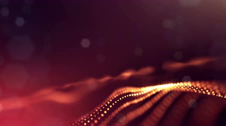 írisz : 4k interesting abstract looped backgrounds with luminous particles with depth of field. suitable for holiday presentations, as a bright interesting background with light effects. Golden red lines 26