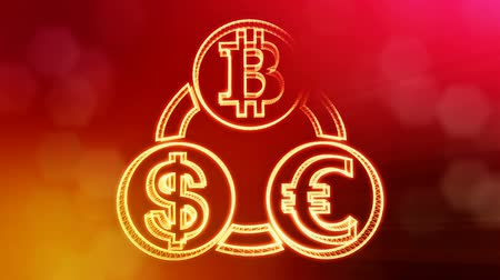 ícone : symbol bitcoin euro and dollar in a circular bunch. Financial background made of glow particles. Shiny 3D seamless animation with depth of field, bokeh and copy space.. Red v5