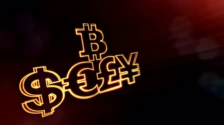 pound : symbol bitcoin dollar euro pound and yen.. Financial background made of glow particles as vitrtual hologram. 3D seamless animation with depth of field, bokeh and copy space. Golden v5 Stock Footage