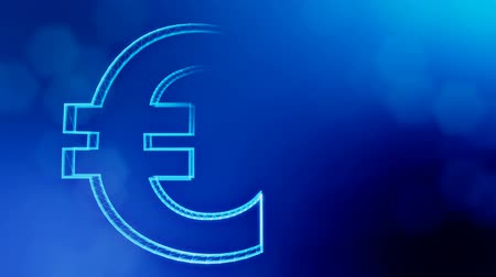 particle system : Animation icon or emblem of Euro Logo. Background made of glow particles as vitrtual hologram. Shiny 3D seamless animation with depth of field, bokeh and copy space. Blue v5 Stock Footage