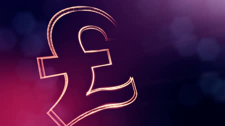 pound : Animation icon or emblem of GBR Logo or pound. Background made of glow particles as vitrtual hologram. Shiny 3D loop animation with depth of field, bokeh and copy space.. Violet v5