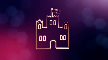 logo elements : icon of castle. Background made of glow particles as vitrtual hologram. 3D seamless animation with depth of field, bokeh and copy space. Violet v5