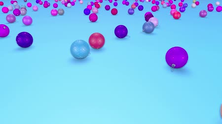 good new year spirit : christmas balls fall crumble to the surface with depth of field. 3d animation for new year compositions or background. 10