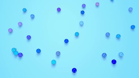 ilginç : christmas balls fall crumble to the surface. view from top. 3d animation for new year compositions or background. shades of blue 4 Stok Video