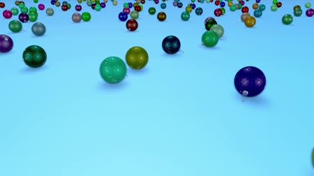 large number of : christmas balls fall crumble to the surface with depth of field. 3d animation for new year compositions or background. multicolor 1 Stock Footage