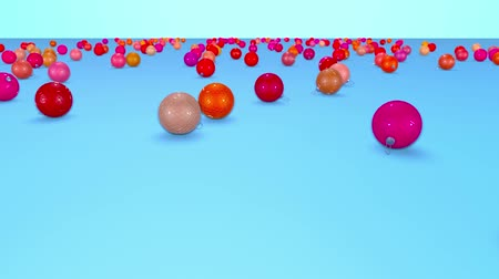 good new year spirit : christmas balls fall crumble to the surface with depth of field. 3d animation for new year compositions or background. shades of red 2
